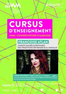 cursus d'enseignement 2021/2022 Françoise ATLAN Chants sacrés et profanes des traditions séfarades et Al andalus