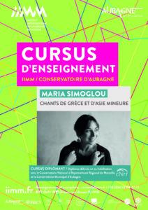 cursus d'enseignement IIMM 2021/2022 Maria SIMOGLOU Chants de Grèce et d'Asie Mineure